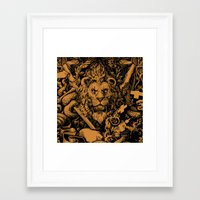 lion Framed Art Prints featuring Lion by Jimiyo