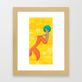 Coney Island Pinup Mermaid - Yellow Framed Art Print
