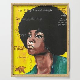 Angela Davis Drawings Feminist Icon Portrait Serving Tray