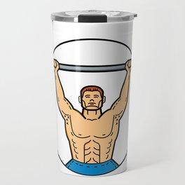 Weightlifter Lifting Barbell Mono Line Art Travel Mug