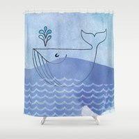 willy wonka Shower Curtains featuring Willy Whale by Stijl van het Huis