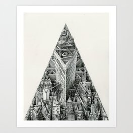 Tower of the Recursive Fugue (An Impossible Building) Art Print