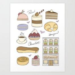 French Bakery Doodles Art Print