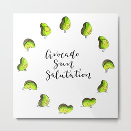 Avocado Sun Salutation Metal Print