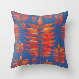 Staghorn Sumac leave on blue Throw Pillow