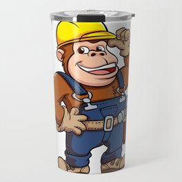 Cartoon of a Gorilla Handyman Travel Mug