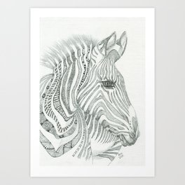 Pen and ink wall art on canvas - Zebra in the African wilderness Art Print