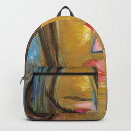 Long Eyelash girl: Abstract Acrylic Painting of an interesting woman Backpack