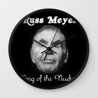 kevin russ Wall Clocks featuring Russ Meyer Tribute Poster by Holland