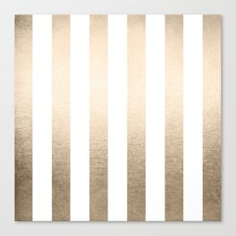 Simply Vertical Stripes in White Gold Sands Canvas Print