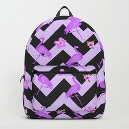 Black and Purple Zig Zag With Flamingos and hawaiian flowers Pattern Backpack