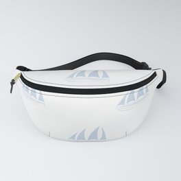 Pale Blue Sailboat Pattern Fanny Pack
