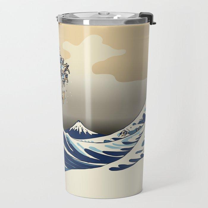 The Great Wave of Pugs Vanilla Sky Travel Mug
