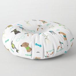 Sighthounds Pattern Green Floor Pillow