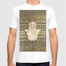 Faux Print Gold Hamsa Hand and Tribal Aztec White LARGE Mens Fitted Tee