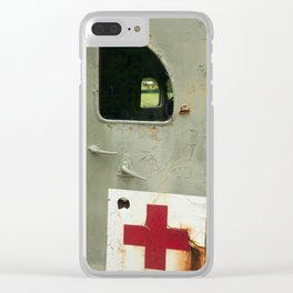 Old military ambulance with rust on the doors. Clear iPhone Case