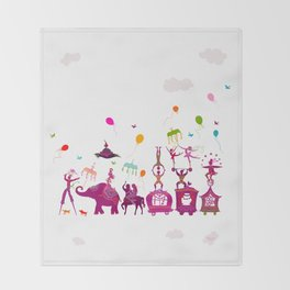 colorful circus carnival traveling in one row on white background Throw Blanket