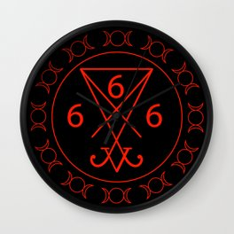 666- the number of the beast with the sigil of Lucifer symbol Wall Clock