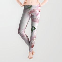 Coral Watercolor Roses Leggings