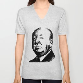 Alfred Hitchcock by burro Unisex V-Neck