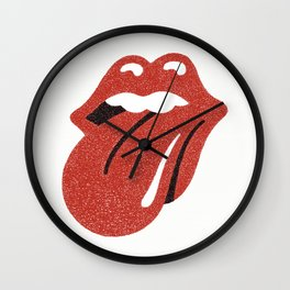 Hand Drawn Tongue and Lip on White Background Wall Clock