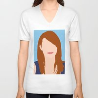emma stone V-neck T-shirts featuring Emma Stone Digital Portrait by RoarsAdams