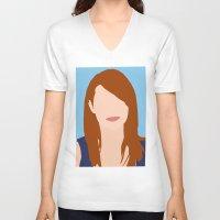 emma stone V-neck T-shirts featuring Emma Stone Digital Portrait by RoarsAdams