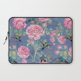 Vintage Watercolor hummingbird and English Roses on blue Background Laptop Sleeve