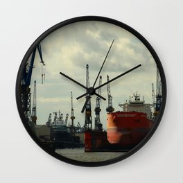 Ship In Dry Dock Wall Clock