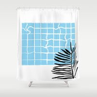 swimming Shower Curtains featuring Swimming pool by Emmanuelle Ly