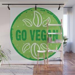 GO VEGAN, green circle Wall Mural
