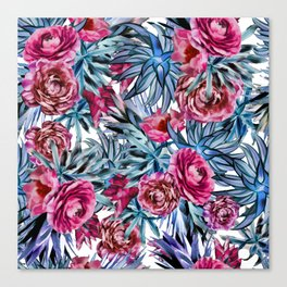 The floral pattern . pink and blue Canvas Print