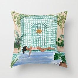 Poolside Siesta Throw Pillow