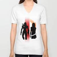 nan lawson V-neck T-shirts featuring Commander Shepard and Miranda Lawson by Pixel Design