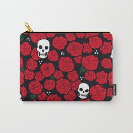 Skulls and Roses Pattern Carry-All Pouch