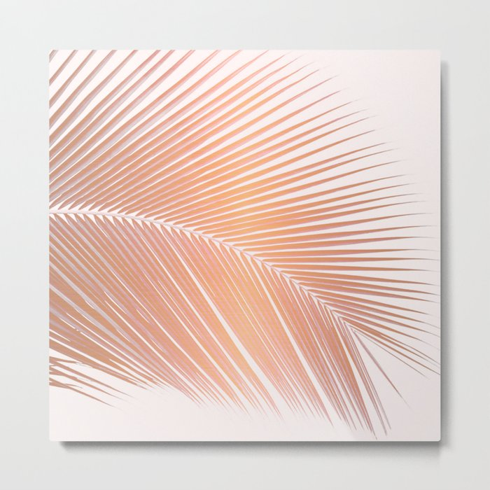 Palm leaf - copper pink Metal Print