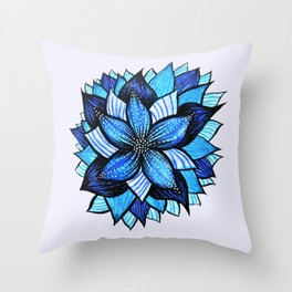 Abstract Blue Flower Ink Drawing Throw Pillow