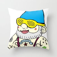 gnome Throw Pillows featuring Gnome by craftyfoxstudios