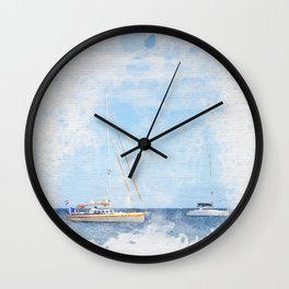 Sail boats on a calm sea Wall Clock