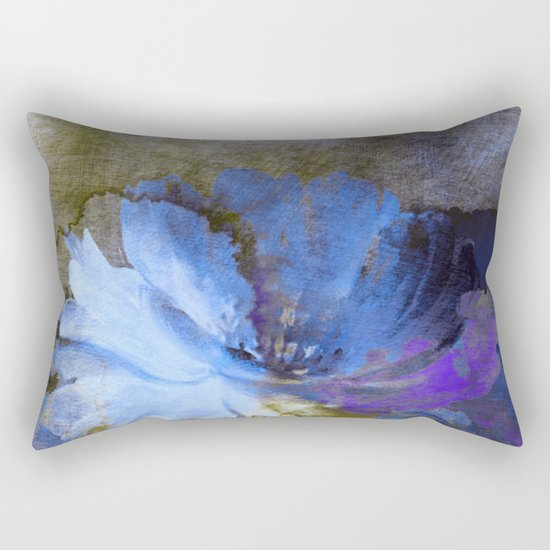 blue abstract flower and old wall Rectangular Pillow
