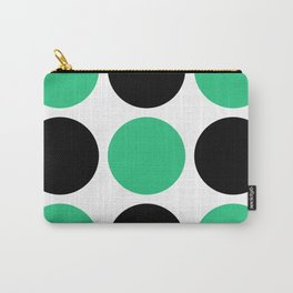 Mid Century Modern Polka Dot Pattern 9 Black and Green Carry-All Pouch