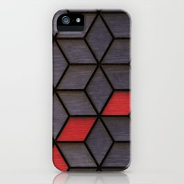 Grey Black Red Cubes iPhone Case