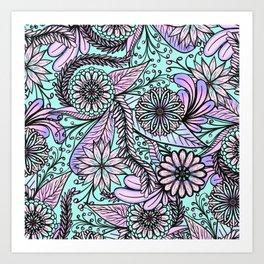 Girly Artsy Pastel Pink Cyan Floral Illustrations Art Print