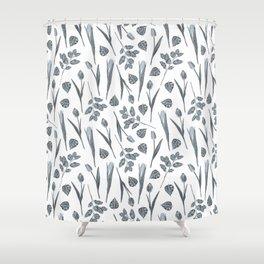 Modern botanical gray mauve teal floral pattern Shower Curtain