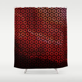 Imperial Cogs Over a Red Sky Shower Curtain