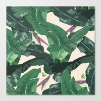 banana leaf Canvas Prints featuring Banana Leaf Pattern by Tamsin Lucie