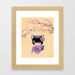 Japanese Neko Kokeshi Doll V2 Framed Art Print