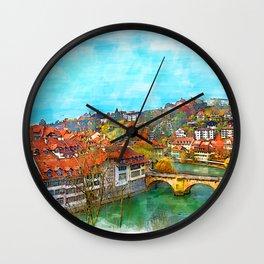 River Landscape - Bern, Switzerland Wall Clock