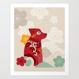 Oriental red dog. Chinese design. Year of the dog Art Print