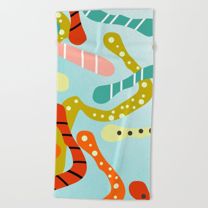 Cheerful snakes Beach Towel